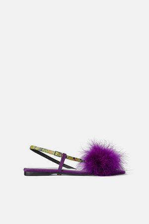 Zara Skórzane sandały na płaskiej podeszwie z piórami z kolekcji blue
