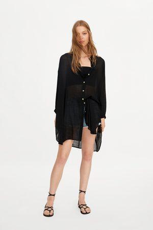Zara Koszula oversize z tkaniny rustykalnej