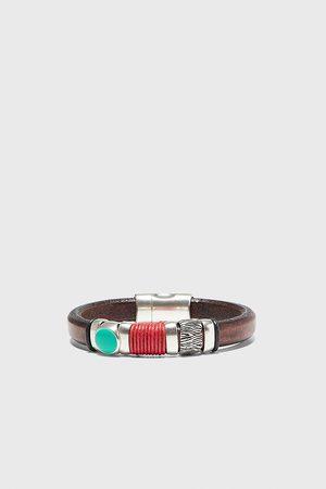 Zara Skórzana bransoletka z łączonych materiałów