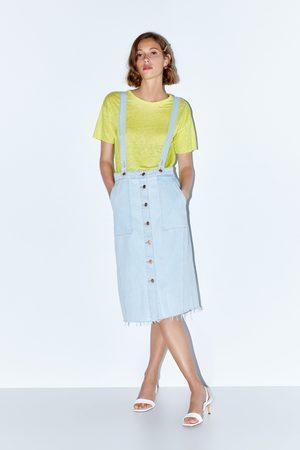 Zara Spódnica średniej długości na szelkach