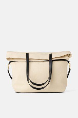 Zara Tekstylna torba typu shopper z ozdobnym złożeniem