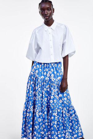 Zara Kobieta Spódnice z nadrukiem - Wzorzysta spódnica w kwiaty