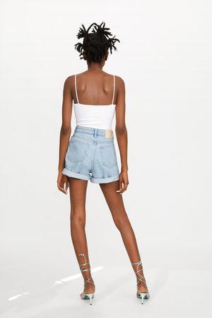 Zara Spodenki w stylu mom fit z tkaniny jeansowej typu authentic