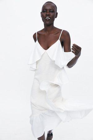 Zara Sukienka z falbankami z tkaniny rustykalnej