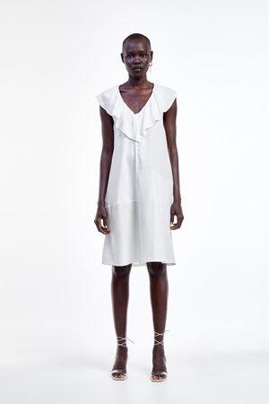 Zara Sukienka z łączonych tkanin z falbankami