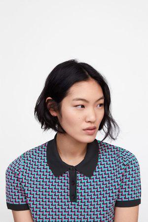 Zara Koszulka polo z dzianiny żakardowej w geometryczny deseń