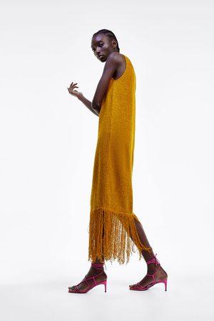 Zara Sukienka w stylu rustykalnym z frędzlami