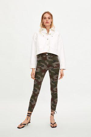 Zara Spodnie jeansowe rurki w moro