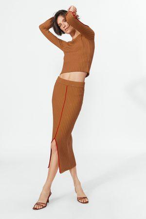 Zara Spódnica z prążkowanej dzianiny z kontrastowym lamowaniem
