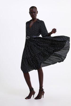 Zara Sukienka w kropki z paskiem