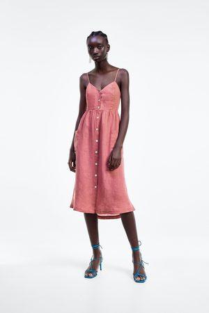 Zara Lniana sukienka z guzikami
