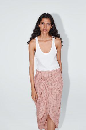 Zara Sukienka z łączonych tkanin z wiązaniem