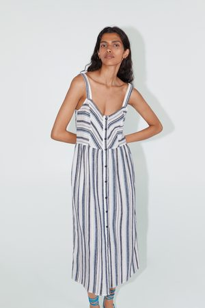 Zara Sukienka w paski na ramiączkach