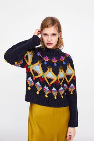 Zara Sweter z dzianiny w wielobarwny deseń