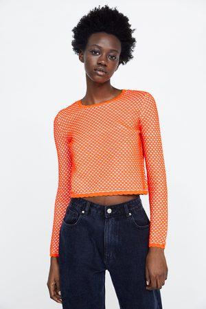 Zara Półprzezroczysty sweter z dzianiny strukturalnej