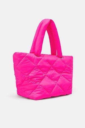 Zara Pikowana torba typu shopper w jaskawym kolorze