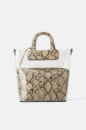 Zara Winylowa torba typu shopper w zwierzęcy deseń
