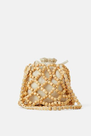 Zara Torebka typu worek z drewnianymi koralikami