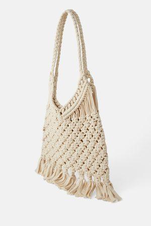 Zara Szydełkowa torba typu shopper