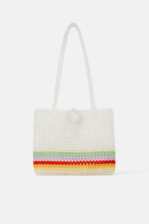 Zara Torba typu shopper z wielobarwnymi koralikami