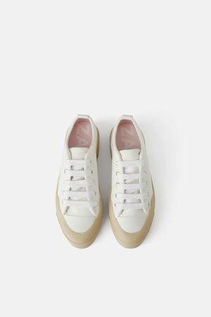 Zara Płócienne buty sportowe na platformie