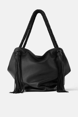 Zara Skórzana torba typu shopper z frędzlami