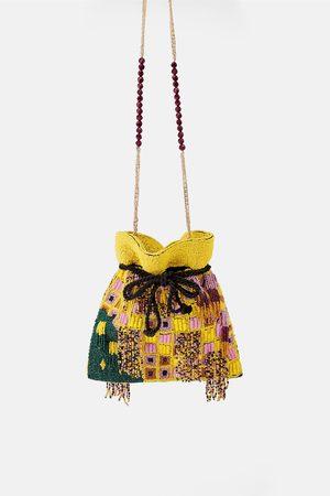 Zara Torebka listonoszka typu worek z koralikami