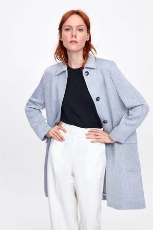 Zara Płaszcz z tkaniny w stylu rustykalnym z guzikami