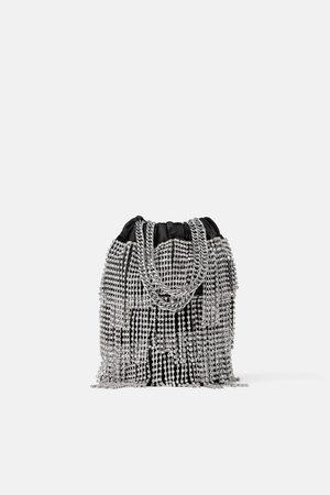 Zara Torebka typu worek z biżuteryjnym zdobieniem