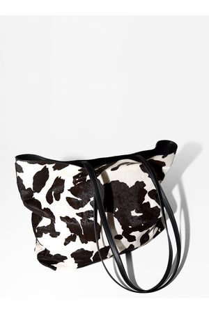 Zara Skórzana torba typu shopper w zwierzęcy deseń