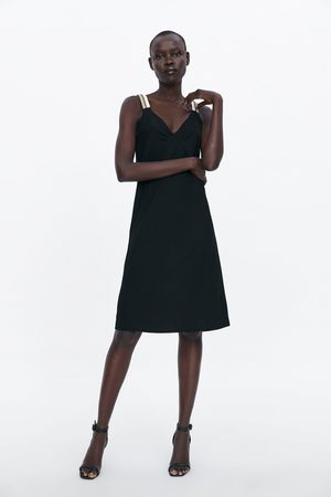 Zara Sukienka na ramiączkach z łączonych tkanin