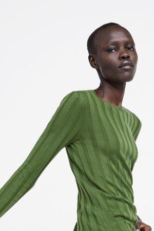 Zara Sweter z prążkowanej dzianiny
