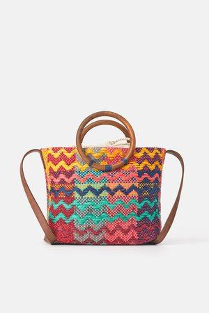 Zara Wielobarwna torba typu shopper z drewnianymi rączkami