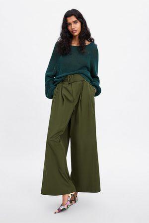 Zara Sweter z dzianiny bawełnianej z szerokim dekoltem