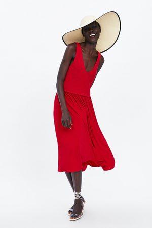Zara Sukienka średniej długości z łączonych tkanin