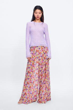 Zara Dzianinowy sweter wykonany ściegiem pointelle