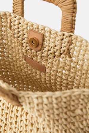 Zara Torba typu koszyk z papierowej plecionki