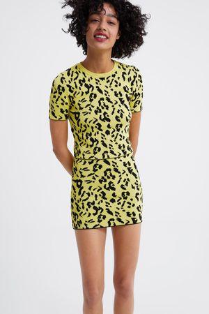 Zara Dzianinowa spódnica w zwierzęcy deseń