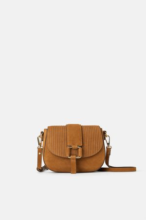 Zara Mini torebka listonoszka z dwoiny i sztruksu
