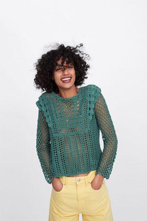 Zara Sweter z ażurowej dzianiny szydełkowej