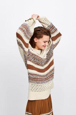 Zara Sweter oversize z łączonych dzianin
