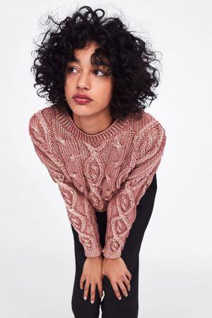 Zara Sweter wykonany ściegiem warkoczowym z błyszczącym wykończeniem