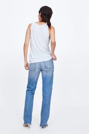Zara Koszulka z prążkowanej dzianiny