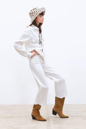 Zara Jeans zw premium hw culotte white