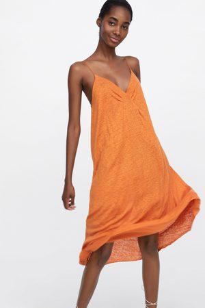 Zara Lniana sukienka na ramiączkach
