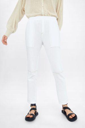Zara Spodnie joggery z przeszyciami