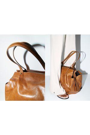 Zara Skórzana torba typu shopper ze spękanym wykończeniem