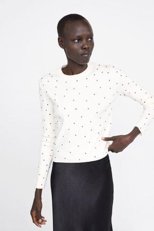 Zara Sweter z biżuteryjnymi zdobieniami