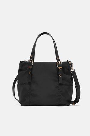 Zara Nylonowa mini torebka typu shopper