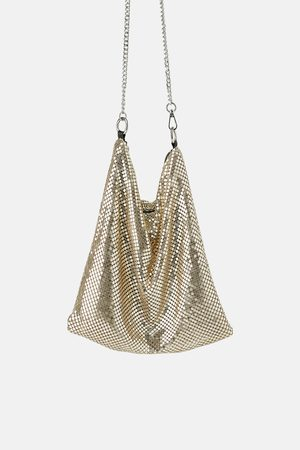 Zara Metallic mesh crossbody bag